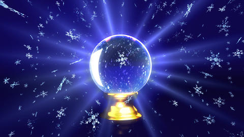 snow falling in crystal ball future Stock Video Footage