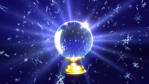 snow falling in crystal ball future Animation