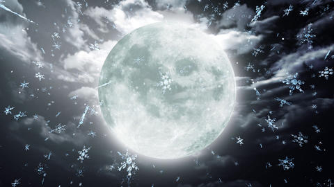 snow moon dark sky Stock Video Footage