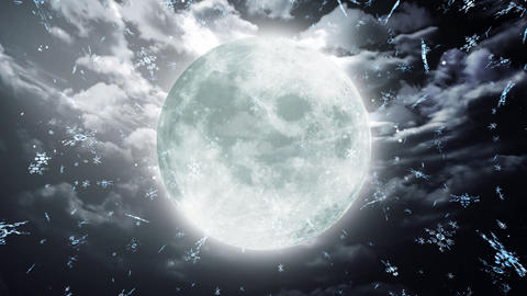snow moon dark sky Animation
