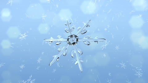 Snow Crystals single front Stock Video Footage