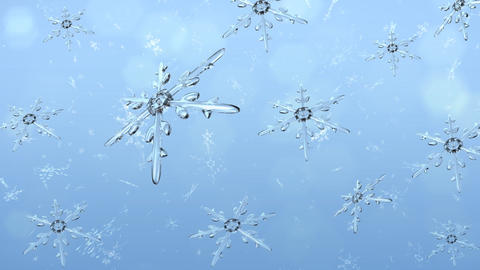 Snowflakes and Snow Crystals background Stock Video Footage