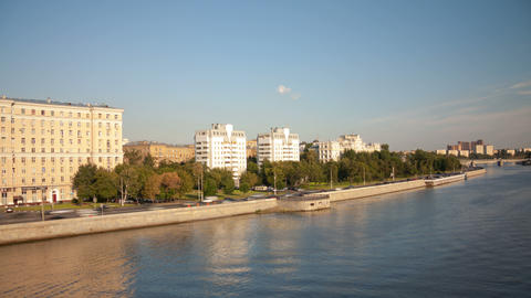 Walk over Moskva river hyperlapse 4K Stock Video Footage