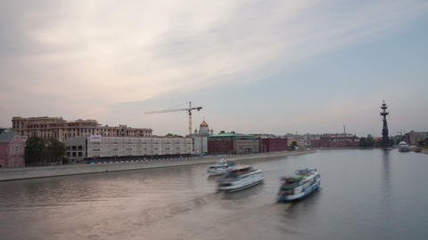 Krimsky bridge walking hyperlapse sunset Stock Video Footage