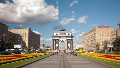 Triumphal Arch square hyperlapse Footage