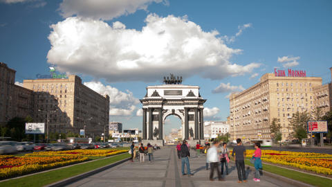 Triumphal Arch square hyperlapse Stock Video Footage