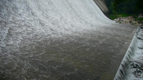 Torrential waterfall & spindrift from dam Stock Video Footage