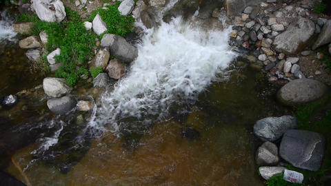 Mountain creek stream in to pond from forests & shrubs Stock Video Footage