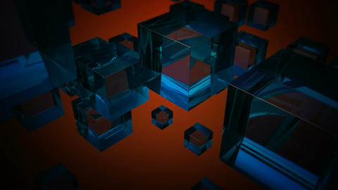 blue glass boxes Stock Video Footage