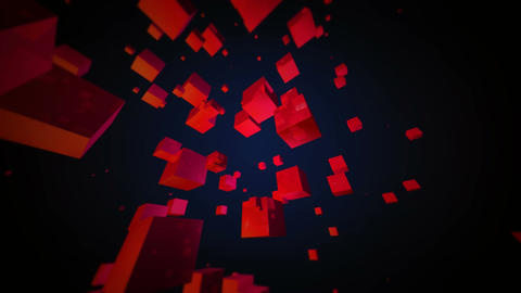 red cubes space Stock Video Footage