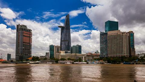 1080 - CITY SKYLINE - Ho CHi Minh City, VIETNAM Ti Stock Video Footage