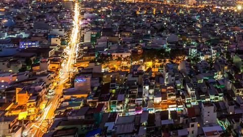1080 - CITY SUNSET - HO CHI MINH CITY TIME LAPSE Stock Video Footage