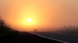 car at sun, sunrise Stock Video Footage