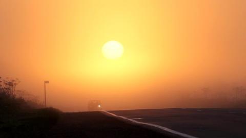 car at sun, sunrise Footage