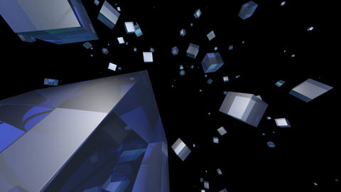 blue cube with alpha Stock Video Footage