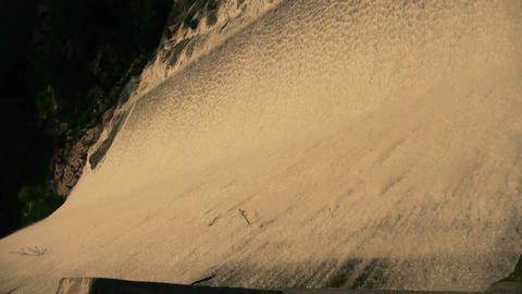 Torrential waterfall & spray from dam,Mountain Tai-shan Stock Video Footage
