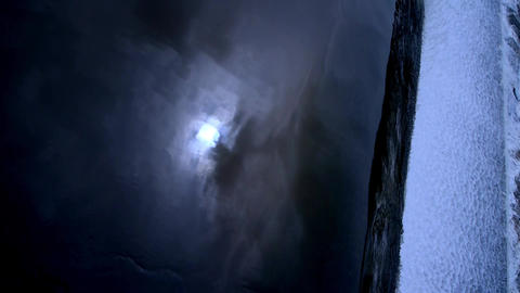 moon reflect in water,top view of waterfall from... Stock Video Footage