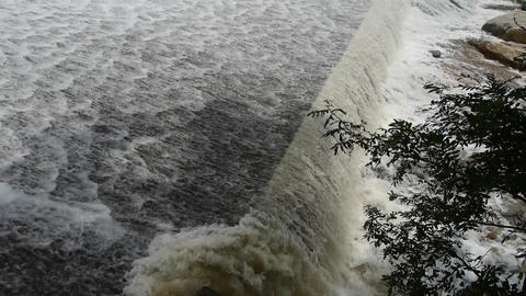 Torrential waterfall running,flood discharge Stock Video Footage