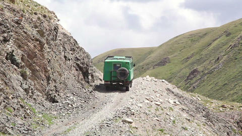 Truck on a dangerous mountain road Footage