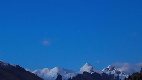 The sun is setting, there are stars. Tien Shan. Ti Stock Video Footage