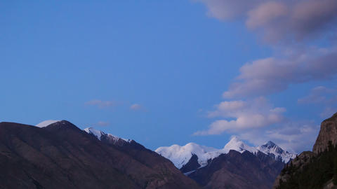 The sun is setting, there are stars. Tien Shan. Ti Footage