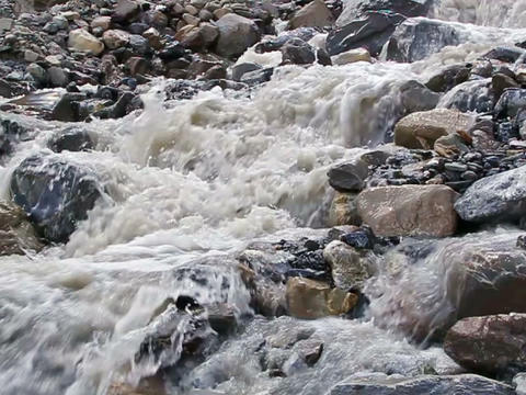 White mountain river. Slow-motion Footage