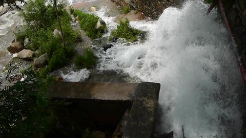 Torrential waterfall running,flood discharge Animation