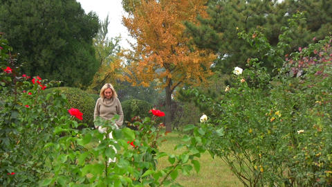 Taking a stroll in the garden Stock Video Footage