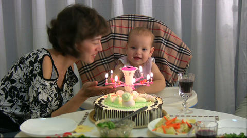 Mum celebrating birthday for baby Footage