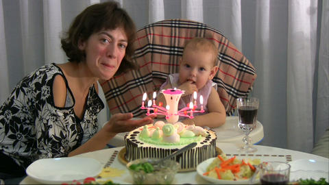 Mum celebrating birthday for baby Stock Video Footage