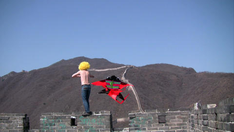 Kite on Great Wall Footage
