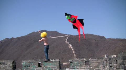 Kite on Great Wall Stock Video Footage