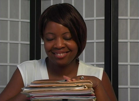 Beautiful Businesswoman Has Completed Her Work Stock Video Footage