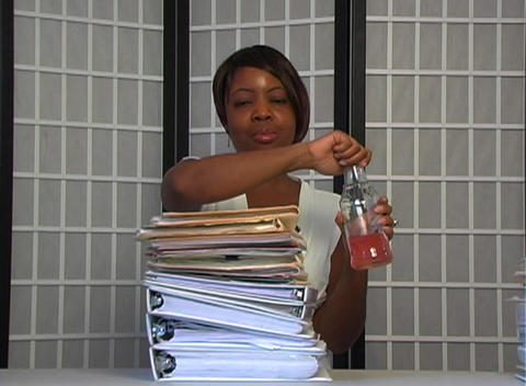 Beautiful Businesswoman Completes Her Work Footage
