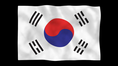 National flag A13 KOR HD Stock Video Footage