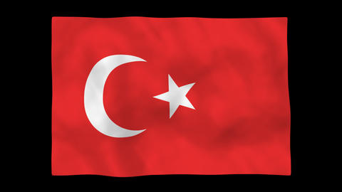 National flag A17 TUR HD Stock Video Footage