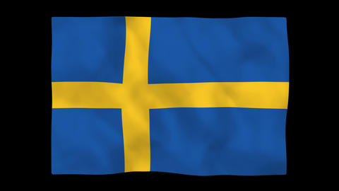 National flag A19 SWE HD Stock Video Footage