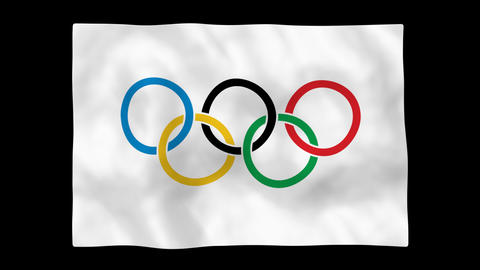 Olympic Flag Stock Video Footage