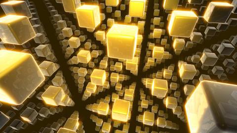 golden cubes matrix Stock Video Footage