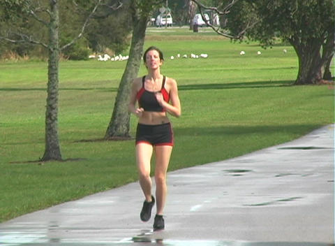 Beautiful Woman Jogging (1) Stock Video Footage