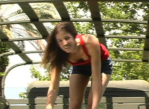 Sexy Brunette Blows a Kiss Stock Video Footage