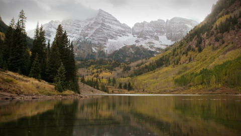 (1119) Autumn Early Snow Storm - Maroon Bells Colorado... Stock Video Footage