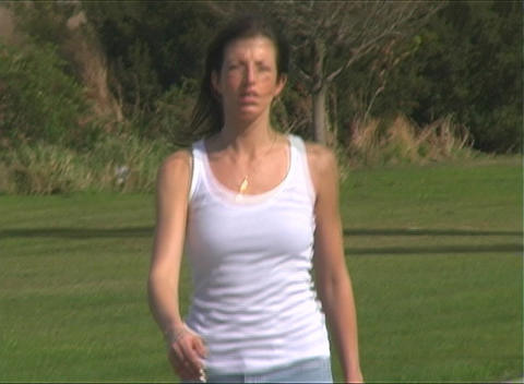 Slo Mo Beautiful Woman Walking Outdoors Stock Video Footage