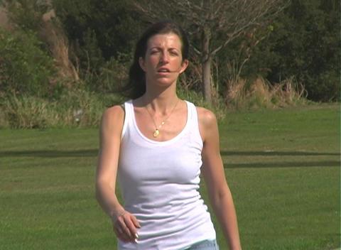 Beautiful Brunette Walking Outdoors (2) Stock Video Footage