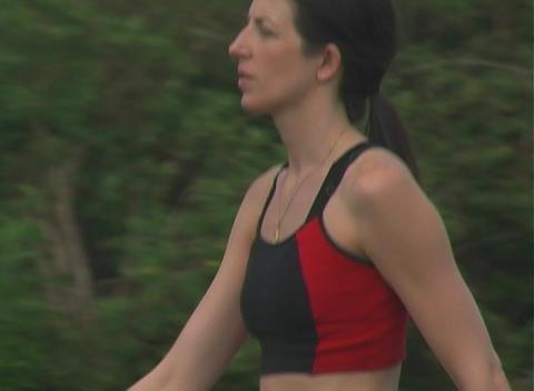 Beautiful Brunette Cooldown Walk (2) Stock Video Footage