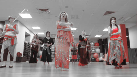 Belly Dancing women Class group dance in front of Stock Video Footage