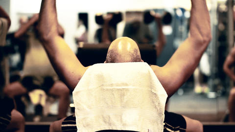 Fitness gym exercising Weight Lifting health sport Stock Video Footage