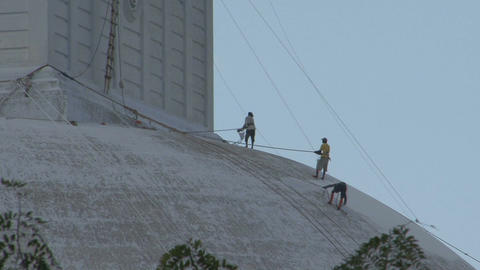 People painting Dagoba in Anuradhapura, Sri Lanka Footage