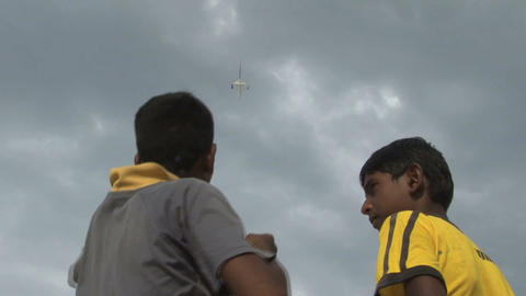Boys with kite on the beach Stock Video Footage