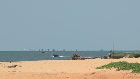 Beach, speedboat, Sri Lanka Stock Video Footage